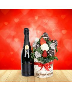 Chocolate Dipped Strawberries & Champagne Vase