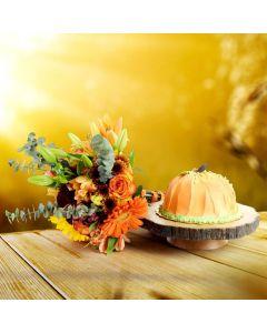 Harvest Tradition Floral Gift & Cake