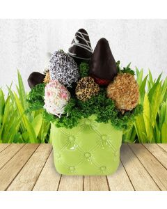 Chocolate Dipped Strawberries in Green Pillowed Pot
