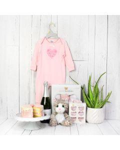 Baby Girl Birthday Starter Basket with Champagne