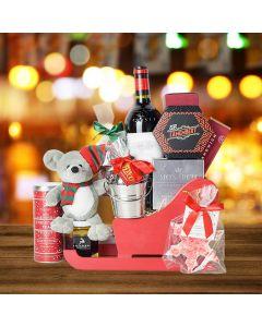 Christmas Sleigh with Wine Gift Basket