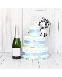 Cuddly Diaper Cake Gift Set with Champagne