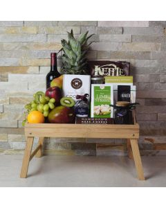 Foodie's Delight Fruit & Snack Basket with Wine