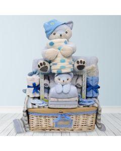 Cuddly Blue Baby Basket
