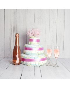 BABY GIRL DIAPER CAKE WITH CHAMPAGNE