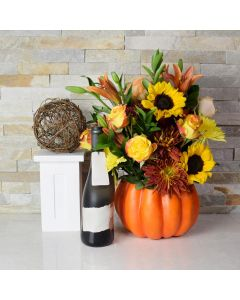 Bouquet of Fall Flowers & Champagne