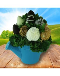 Chocolate Dipped Strawberries in Blue Watering Can Pot