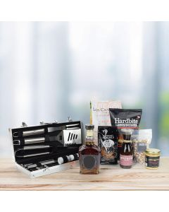 """It's Time for a Barbeque"" Gift Basket with Liquor"