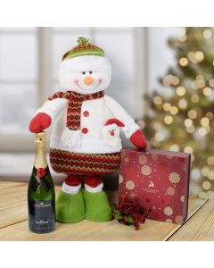Christmas Chocolate & Tall Snowman Set with Champagne