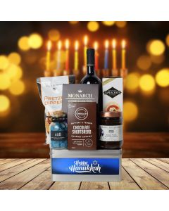 Happy Hanukkah Wine & Treats Gift Basket