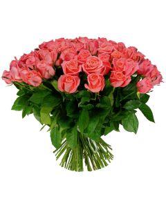 Single Colour Pink Roses Flower Bouquet
