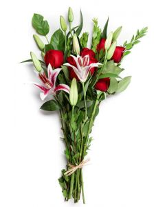 Red Roses, Red and White Lilies