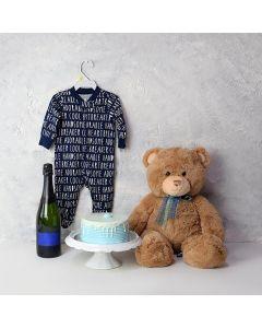 Baby Boy Cake & Champagne Gift Basket