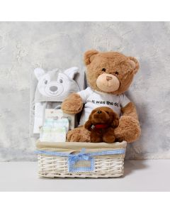 PLUSHES FOR A BABY BOY GIFT BASKET