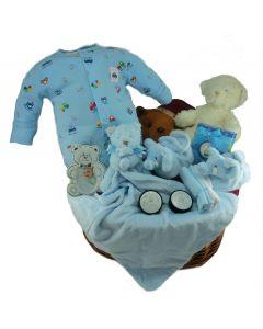 Plush Boy Baby Gift Basket
