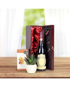 Mahogany Wood Cookies & Wine Gift Basket