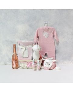 BABY & THE UNICORN GIFT BASKET WITH CHAMPAGNE