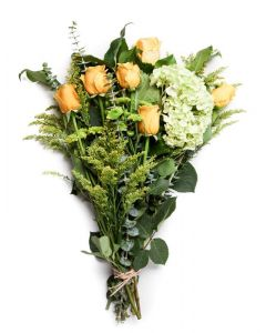 Soft Yellow Roses, Hydrangea and Sinuata Bouquet