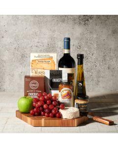 Lake Rosseau Wine and Cheese Board, wine gift baskets, gourmet gifts, gifts, cheese board, charcuterie