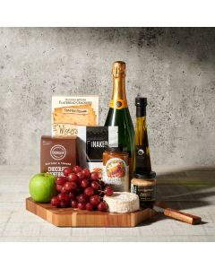 Lake Rosseau Champagne and Cheese Board, champagne gift baskets, gourmet gifts, gifts, cheese board, charcuterie