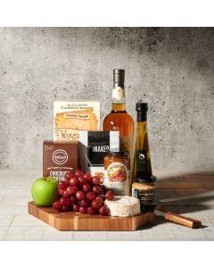 Lake Rosseau Liquor and Cheese Board, liquor gift baskets, gourmet gifts, gifts, cheese board, charcuterie