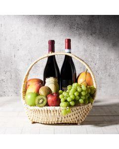 New Harvest Wine Gift Basket, wine gift baskets, gourmet gifts, gifts, fruit, fruit basket