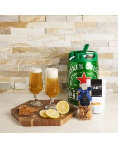 The Irish Pub Beer Set, beer gift sets, gourmet gifts, gifts, beer keg, beer, peanuts, pistachios, drinking glasses, cutting board