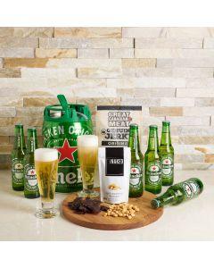 Heineken Falls Gift Set, beer gift sets, gourmet gifts, heineken, beer keg, beer, peanuts, beef jerky, US Delivery