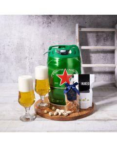Keg of Beer Gift Set, beer gift sets, gourmet gifts, gifts, beer keg, beer, peanuts, pistachios, drinking glasses, cutting board