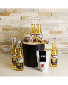 Corona Beach Beer Gift Basket, beer gift sets, gourmet gifts, gifts, beer, almonds, carrying pail