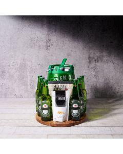 The Oktoberfest Custom Beer Keg Gift Basket, beer gift sets, gourmet gifts, heineken, beer keg, beer, peanuts, beef jerky, US Delivery