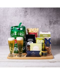 Heineken Heaven Keg Set, beer gift sets, gourmet gifts, heineken, beer keg, beer, chocolate, pretzels, peanuts, snacks,