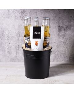 Corona & Sunshine arrives stocked with 6 beers inside a sleek black metal pail, plus a delectable side of sea salted almonds - the perfect gift for any occasion and any friend!
