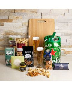 Heineken Gift Basket, beer gift sets, gourmet gifts, beer keg, beer, chocolate, pretzels, peanuts, snacks, US Delivery