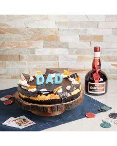 A Cheesecake for Dad Liquor Basket, liquor gift baskets, cake gift baskets, father's day, cheesecake, liquor, US Delivery