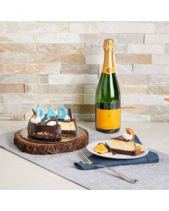 Father's Day Celebration Cake, champagne gift baskets, cake gift baskets, father's day, cheesecake, champagne, US Delivery