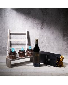 Dine with Cake and Wine Gift Set, father's day gift box, gourmet gifts, gifts, wine, chocolate, cupcakes, cookies