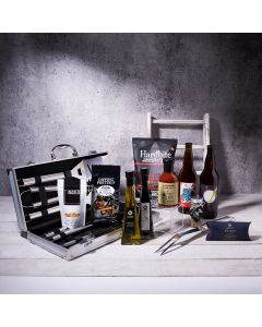Barbecue Beer Gift Set, beer gift baskets, gourmet gifts, beer, BBQ, cashews, grill set