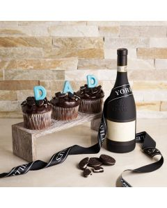 Father's Day Dine with Cake and Wine Gift Set, father's day gift box, gourmet gifts, gifts, wine, chocolate, cupcakes, cookies