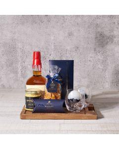 wood cutting board, chocolate, mustard, Liquor Gift Basket, Liquor, Set 23771-2021, liquor gift basket delivery, delivery liquor gift basket, liquor basket usa, usa liquor basket