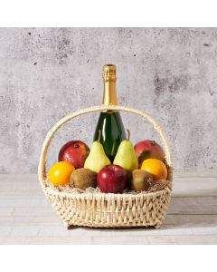 Champagne with Fresh Produce Market Basket