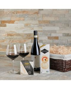Classic Brie Cheese & Wine Gift Basket