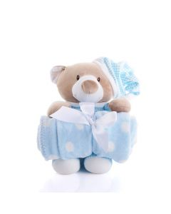 Blue Hugging Blanket Bear, Baby Toys, Plushy Toys, Baby Gifts, Baby Plushies, USA Delivery