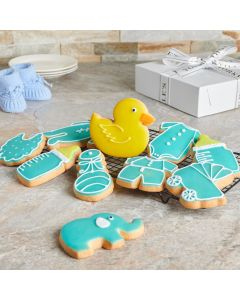 Blue Welcome Baby Boy Cookies, Baby Boy Cookies, Baked Goods, Baby Cookies, USA Delivery