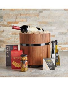 The Wine Feast Gift Barrel, Wine Gift Baskets, Gourmet Gift Baskets, USA Delivery