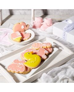 Pink Welcome Baby Cookie Gift Box, Baby Girl Cookies, Baked Goods, Gourmet Baby Cookies, USA Delivery