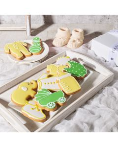 Yellow Welcome Baby Cookie Gift Box, Unisex Baby Cookies, Gourmet Baby Cookies, Baked Goods, USA Delivery