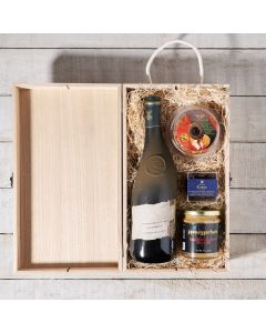 Wine & Hors d'oeuvre Gift Box. Wine Gift Crate, Wine Gift Baskets, Chocolate Gift Baskets, USA Delivery