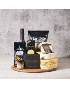 Appetizers & Champagne Set, Gourmet Gift Baskets, Wine Gift Baskets, Chocolate Gift Baskets, Cheese Gift Baskets, Chips, Champagne, Pretzels, Cheese, USA Delivery