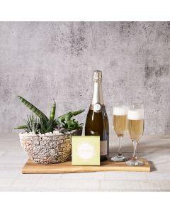 Green & Gold Champagne Gift Basket